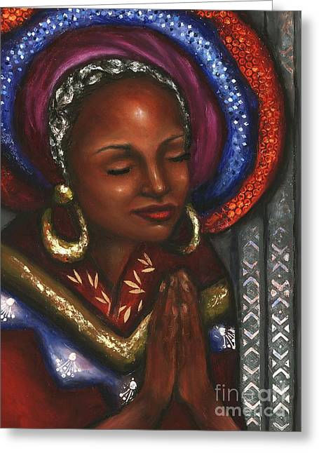 Greeting Card featuring the pastel Pray With Me by Alga Washington