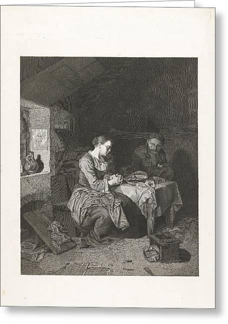 Prayer Before Meals, Bega Friedrich Wilhelm Burmeister Greeting Card
