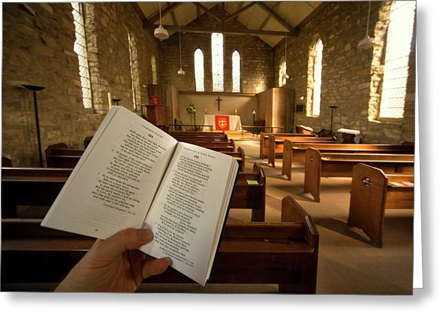Prayer Book In Church, Rosedale, North Greeting Card by John Short