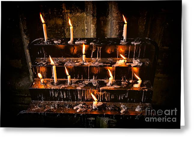 Prayer Candles Greeting Card by Adrian Evans