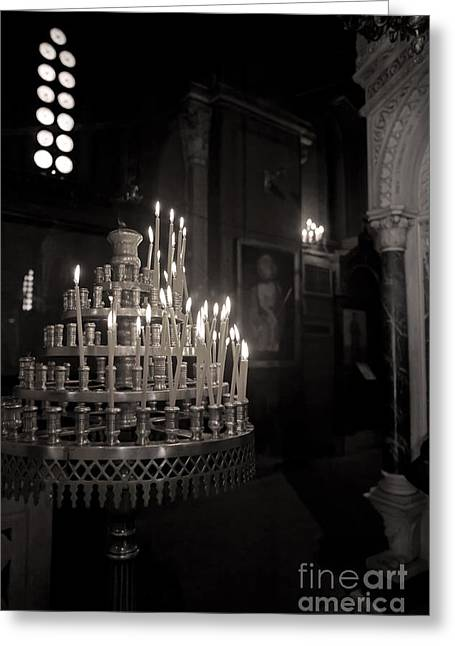 Greeting Card featuring the photograph Prayer Candles by Aiolos Greek Collections