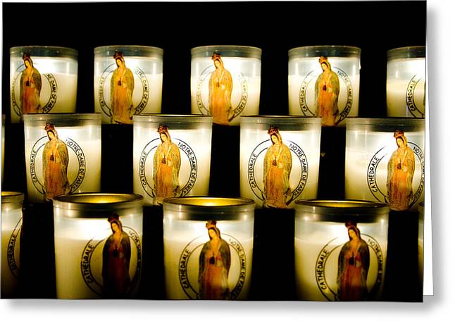 Prayer Candles In Notre Dame Greeting Card by Nila Newsom