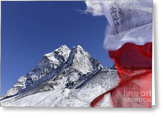 Prayer Flags And Mountains In The Everest Region Of Nepal Greeting Card