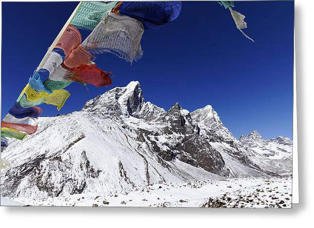 Prayer Flags And Mountains Greeting Card