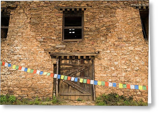 Prayer Flags In Front Of The Drukgyal Greeting Card