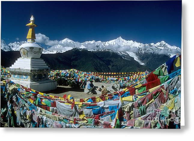 Prayer Flags In The Himalayan Mountains Greeting Card by James Brunker