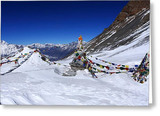 Prayer Flags, Thorong La Pass, Nepal Greeting Card