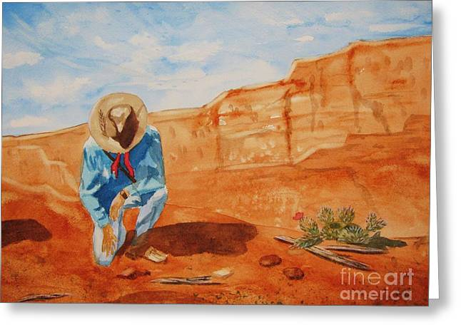 Greeting Card featuring the painting Prayer For Earth Mother by Ellen Levinson