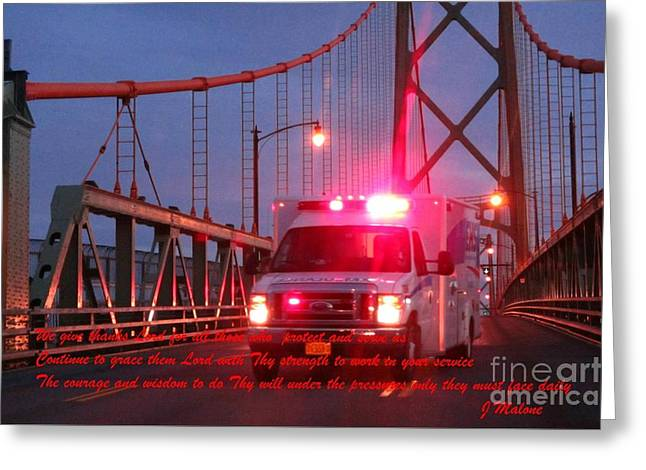 Prayer For Emergency Health Care First Responders Greeting Card by John Malone
