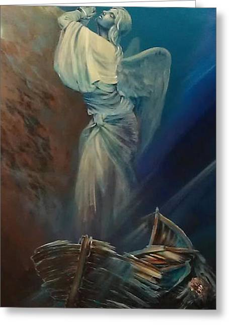 Prayer For The Seas Greeting Card by Ottilia Zakany