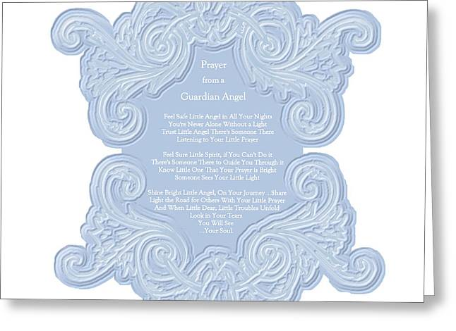 Prayer From A Guardian Angel - Blue Greeting Card by KM Russell
