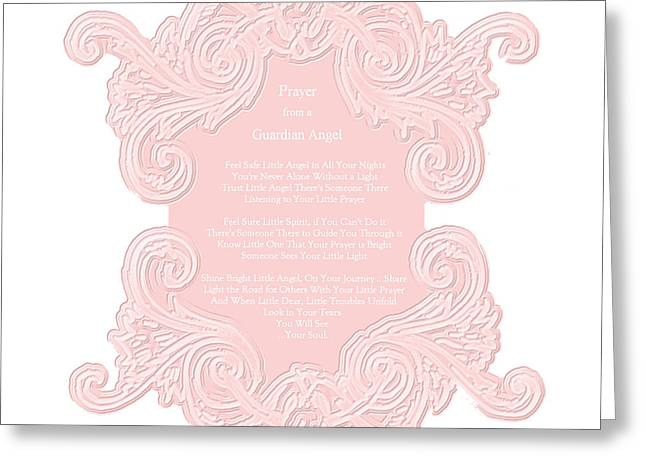 Prayer From A Guardian Angel - Pink Greeting Card by KM Russell