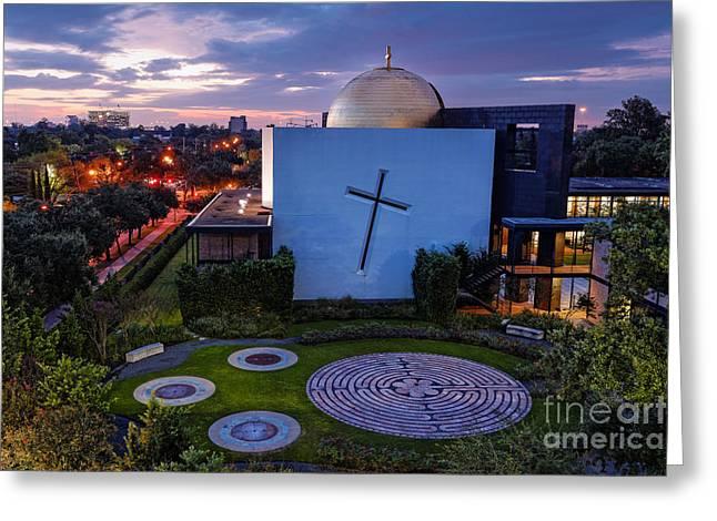 Prayer Garden Of The Chapel Of St. Basil University Of Saint Thomas - Montrose Houston Texas Greeting Card by Silvio Ligutti
