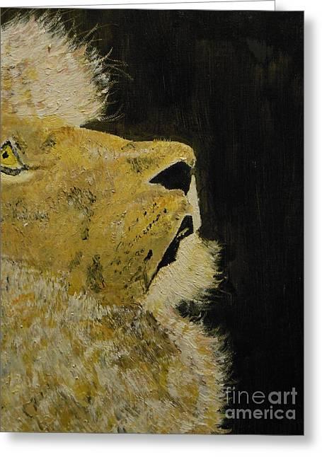 Prayer Lion Greeting Card by Harold Greer
