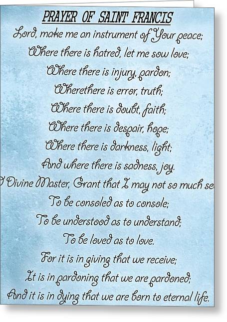 Prayer Of Saint Francis Greeting Card