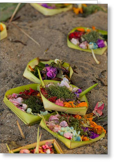 Greeting Card featuring the photograph Prayer Offerings - Bali by Matthew Onheiber