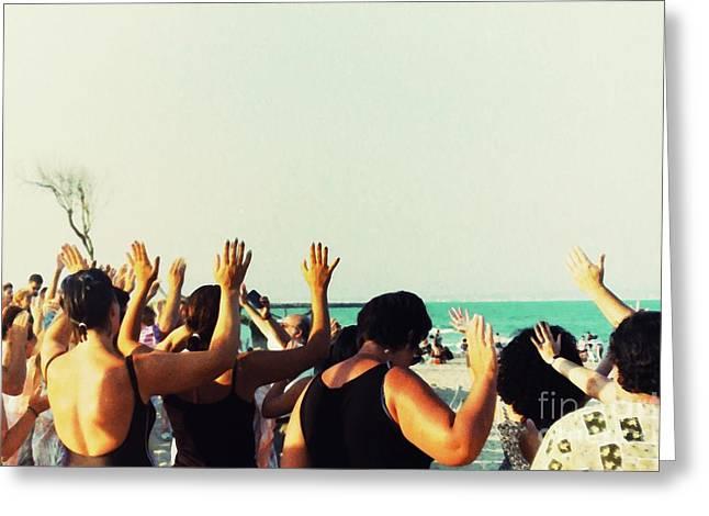 Prayer Service At The Beach Greeting Card by Sarah Loft