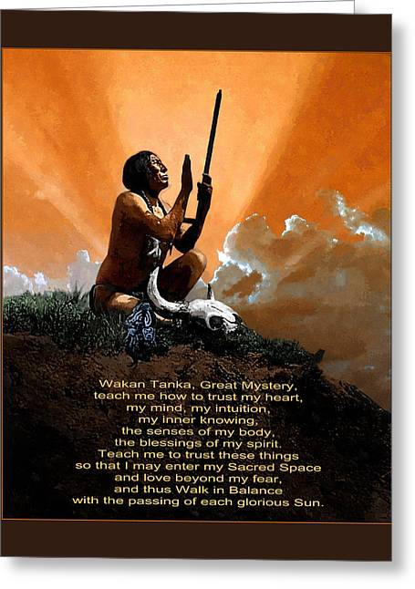 Prayer To The Great Mystery Poster Greeting Card by Rick Mosher