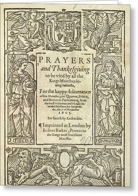 Prayers And Thanksgiving Greeting Card by British Library