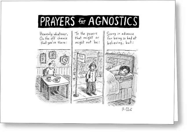 Prayers For Agnostic -- Three Panel Cartoon Greeting Card