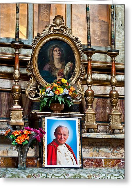 Prayers For Pope John Paul II Greeting Card by Luis Alvarenga