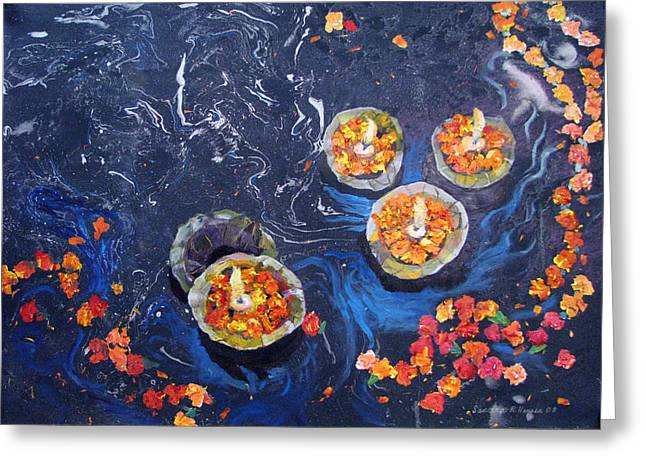 Prayers To The Ganges River Greeting Card by Art Nomad Sandra  Hansen