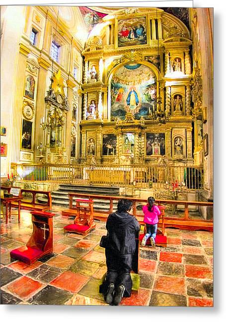 Praying At The Altar In Puebla Cathedral Greeting Card