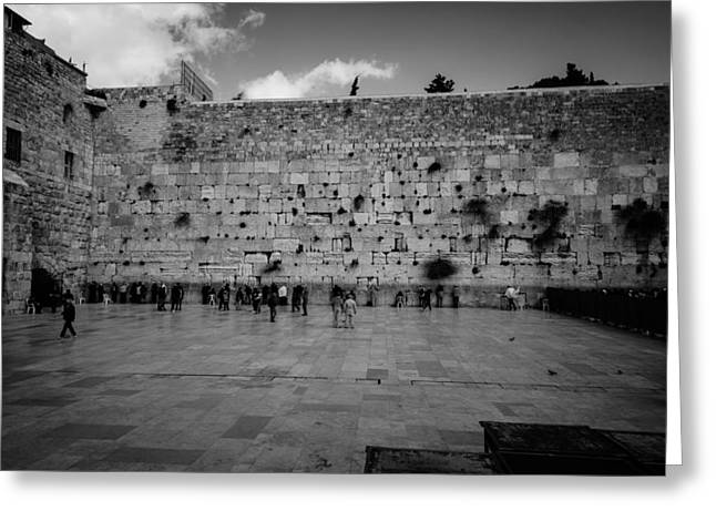 Praying At The Western Wall Greeting Card by David Morefield