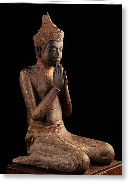 Praying Figure  Angkor Wat, 16th Centurynational Museum, Phnom Pheh Greeting Card by Cambodian School