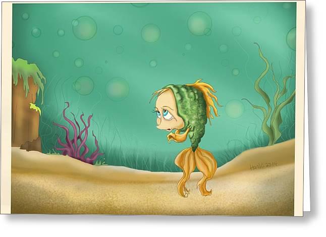 Praying Fish Greeting Card by Hank Nunes