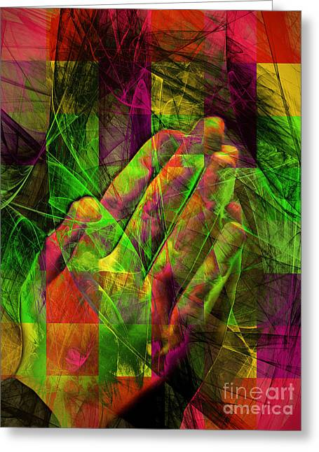 Praying Hands 20150302v2 Color Squares Ylw Greeting Card by Wingsdomain Art and Photography