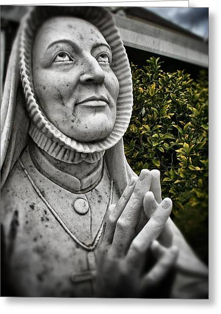 Praying Nun Statue Greeting Card