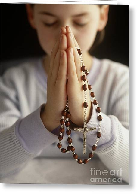Praying With Rosary Beads Greeting Card