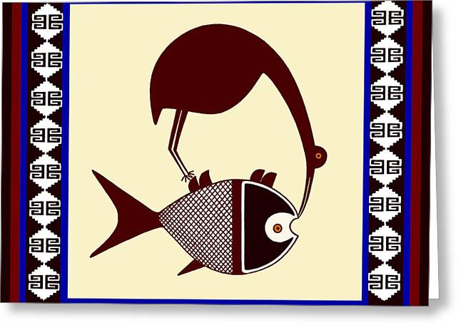 Greeting Card featuring the digital art Pre-columbian Stork Fish by Vagabond Folk Art - Virginia Vivier