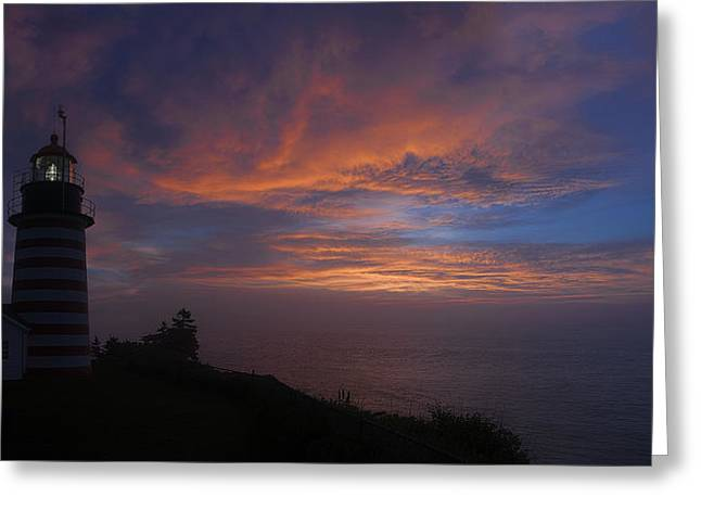 Pre Dawn Lighthouse Sentinal Greeting Card by Marty Saccone