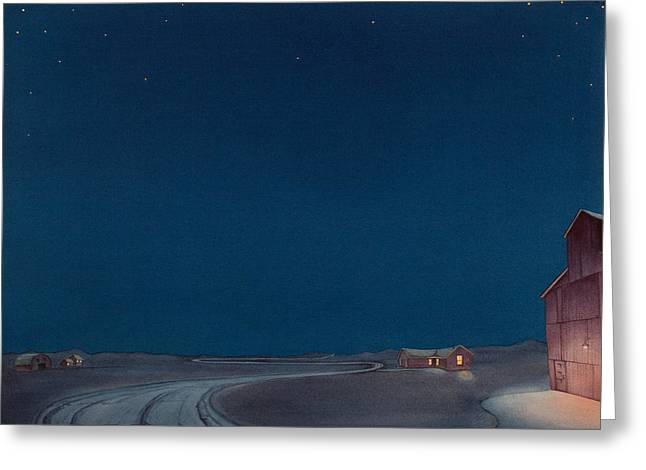 Greeting Card featuring the painting Pre-dawn On The Hi Line II by Scott Kirby