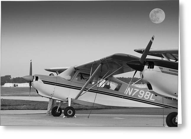 Pre-flight By The Light Of The Moon Greeting Card by Phil Rispin
