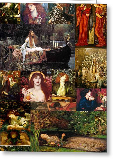 Pre Raphaelite Collage Greeting Card by Philip Ralley