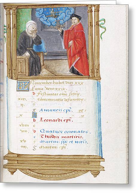 Preacher With Old Man Greeting Card by British Library