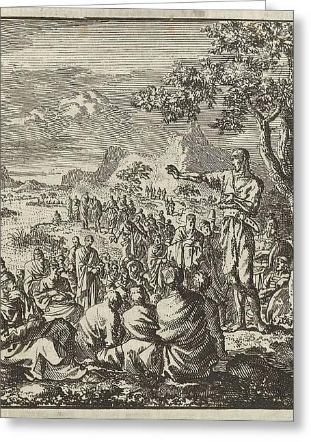 Preaching Of John The Baptist On The Banks Of The Jordan Greeting Card by Jan Luyken And Jan Rieuwertsz. Ii And Barent Visscher