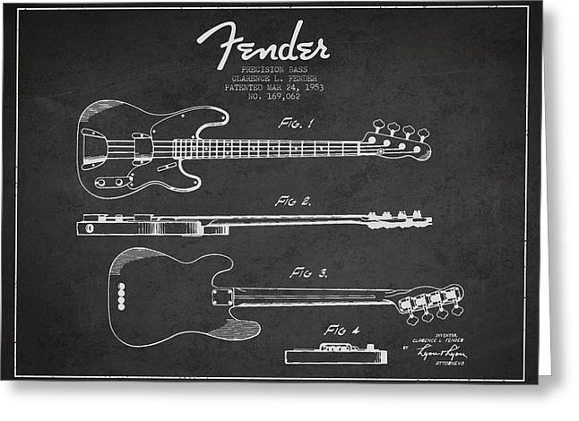 Precision Bass Patent Drawing From 1953 Greeting Card