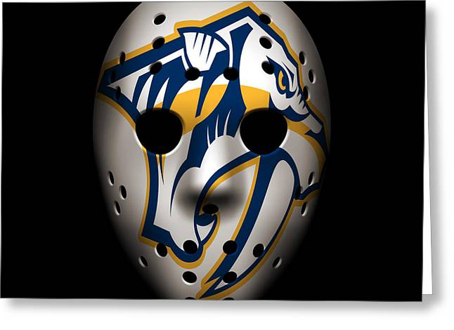 Predators Goalie Mask Greeting Card by Joe Hamilton