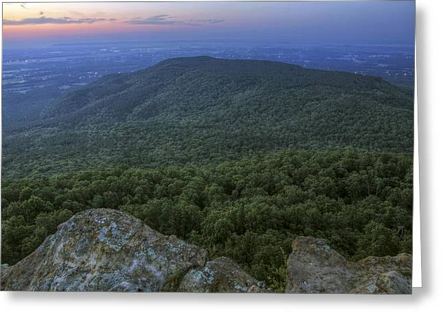 Predawn At Sunrise Point From Mt. Nebo - Arkansas Greeting Card