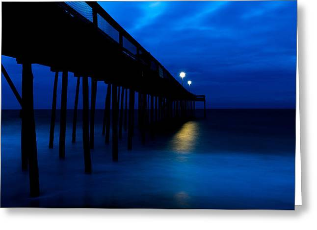Predawn Blue Beneath Pier Greeting Card