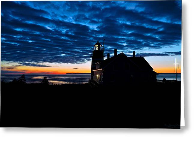Predawn Light At West Quoddy Head Lighthouse Greeting Card by Marty Saccone