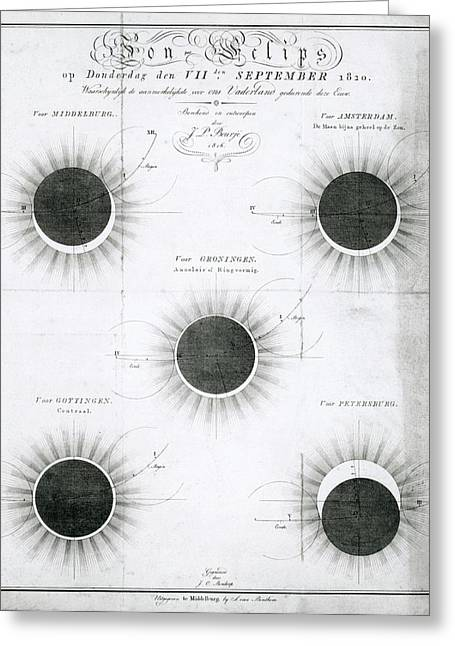 Predicted Annular Solar Eclipse Of 1820 Greeting Card by Royal Astronomical Society