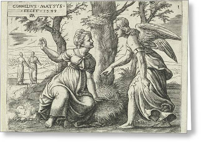 Prediction Of Samsons Birth, Print Maker Cornelis Massijs Greeting Card by Cornelis Massijs And Cornelis Massijs
