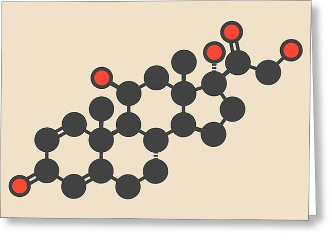 Prednisolone Corticosteroid Drug Molecule Greeting Card