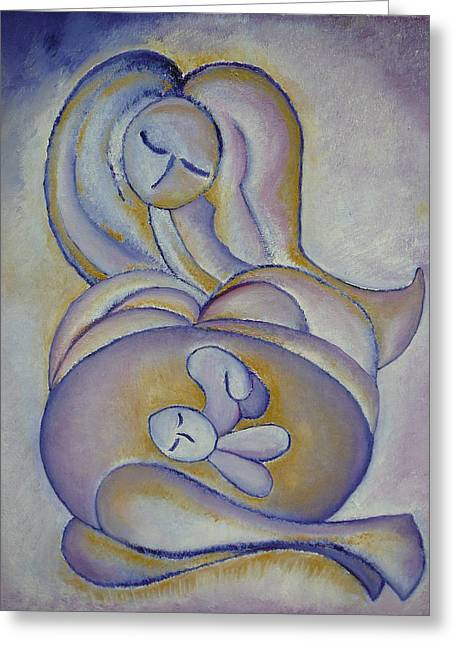 Pregnancy Oil Painting In The Belly Original By Gioia Albano Greeting Card by Gioia Albano