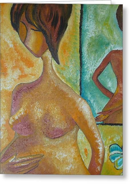 Pregnancy Oil Painting Waiting For You Original By Gioia Albano Greeting Card by Gioia Albano